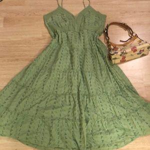 Long green cotton bohemian chicken lace dress 2x